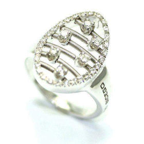 Marco Bicego Oval 18ct White Gold & Diamonds Ring-Ogham Jewellery