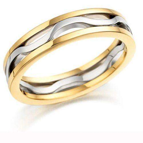 Mens 9ct or 18ct Yellow & White Gold Wedding Ring - EX413-Ogham Jewellery