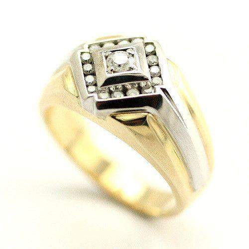 Mens 9ct Yellow & White Gold Diamond Ring - DG8659-Ogham Jewellery