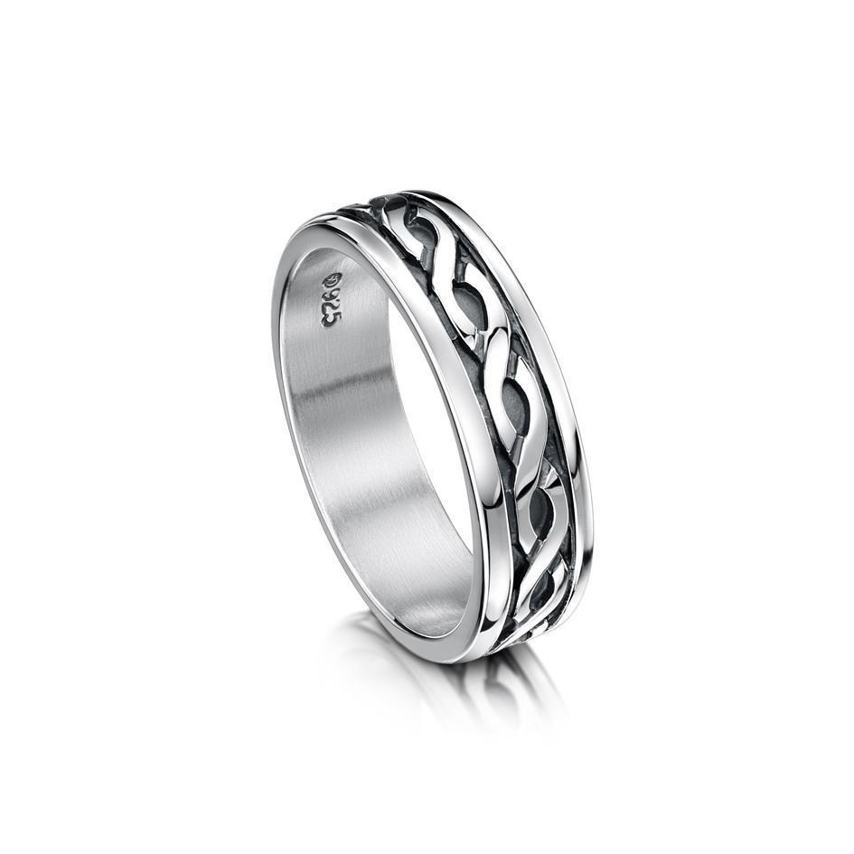 Mens Celtic Ring in Silver Gold Platinum or Palladium - R13 - Size R-Z-Ogham Jewellery
