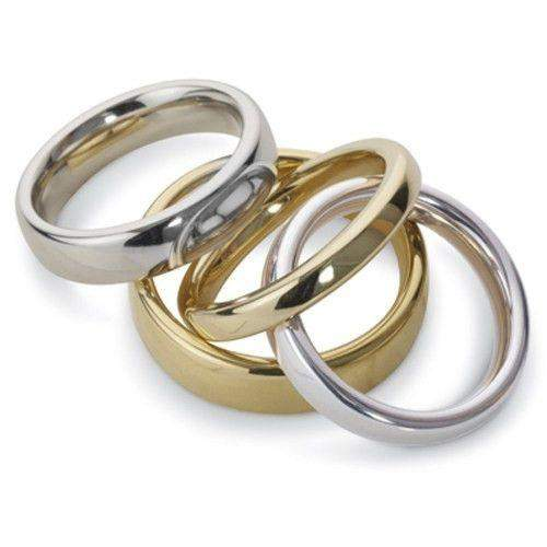 Mens Heavy Court Shape Wedding Ring - Gold Platinum & Palladium - 4-6mm