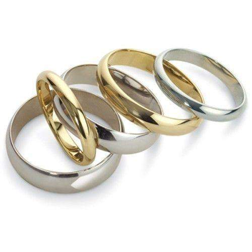 Mens Heavy Weight D-Shape Wedding Ring - Gold Platinum Palladium - 3-7mm
