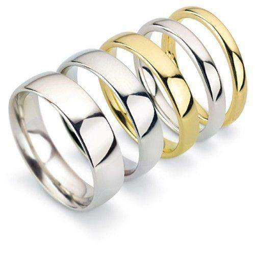 Mens Medium Court Shape Wedding Ring - Gold Platinum Palladium - 4-6mm-Ogham Jewellery