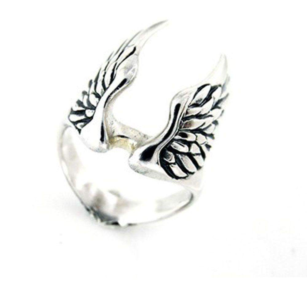 Mens Silver Winged Ring