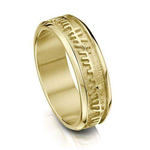 Mens Skyran Ogham Ring - Gold, Platinum or Palladium - R100 Sizes R-Z-Ogham Jewellery