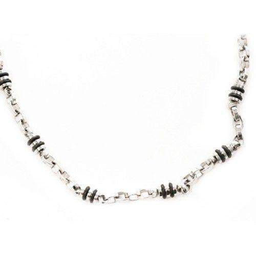 Mens Stainless Steel & Neoprene Link Necklace-Ogham Jewellery