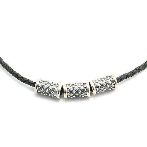 Mens Sterling Silver & Leather Necklace - N395-61-Ogham Jewellery