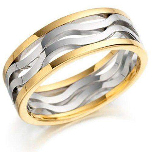 Mens Two Tone Gold Wedding Ring - EX416-Ogham Jewellery