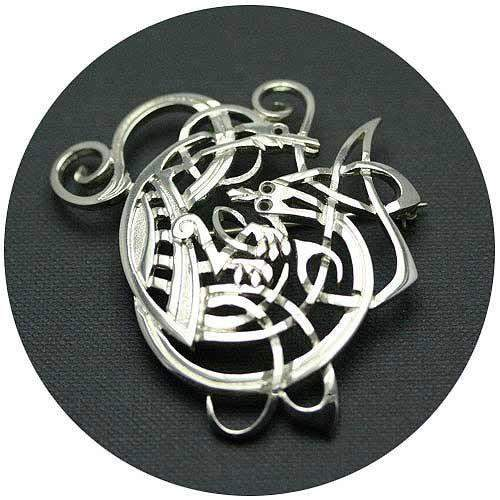 Mithril Silver Celtic Brooch Z17-Ogham Jewellery
