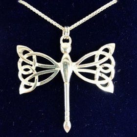 Mithril Silver Celtic Dragonfly Necklace-Ogham Jewellery