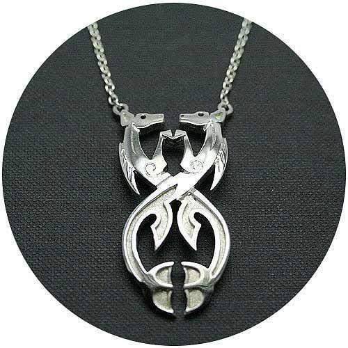Silver Celtic Kelpies Necklace 025B