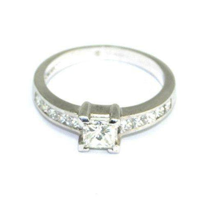Multi Stone 18ct White Gold Princes Cut Diamond Engagement Ring - 0.88ct-Ogham Jewellery