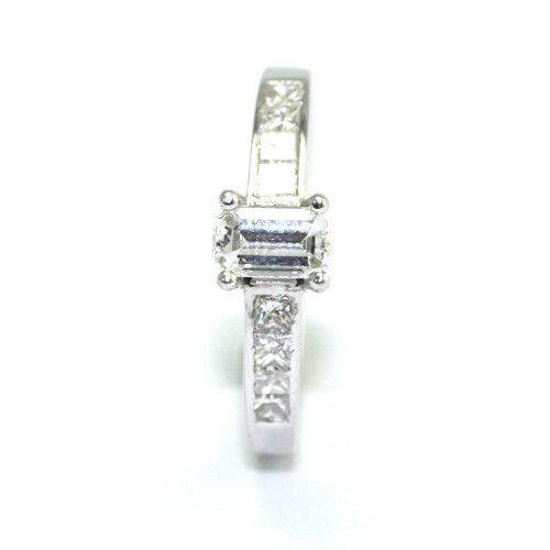 Multi Stone Emerald & Princess Cut Diamond Engagement Ring 1.15 ct-Ogham Jewellery