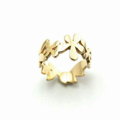 Nurit Levak Gold Plated Sterling Silver Leaf Ring -R-9-Ogham Jewellery