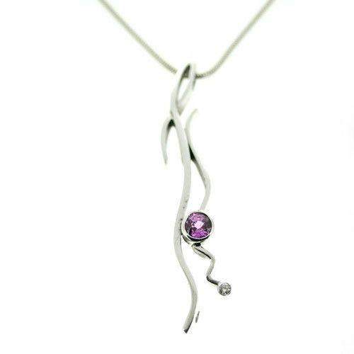 One Off 9ct White Gold, Tourmaline & Diamond Pendant