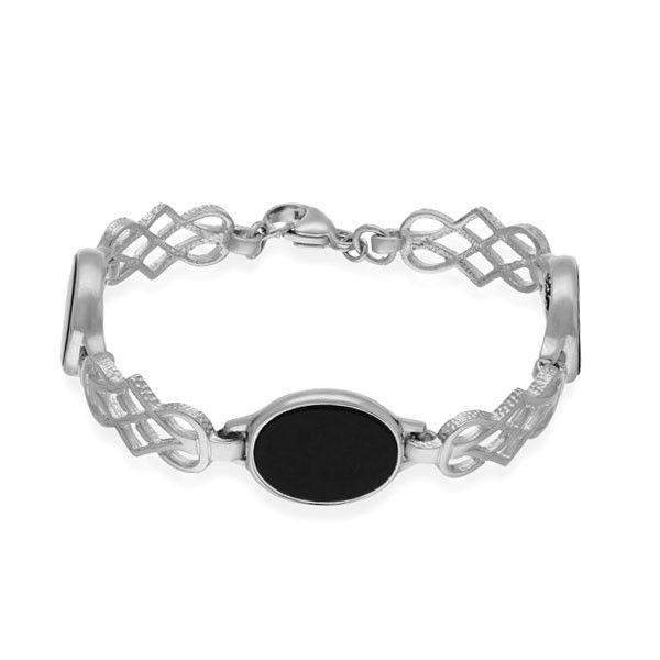 Onyx & Sterling Silver or 9ct Gold Celtic Bracelet - SBL1-Ogham Jewellery