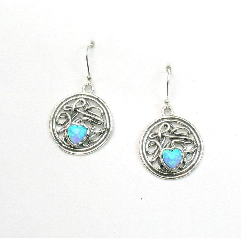 Opaline & Silver Drop Earrings - E6069-Ogham Jewellery