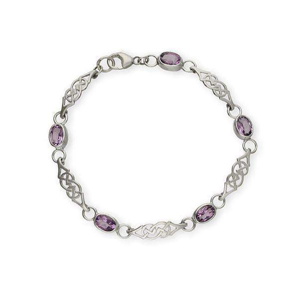 Ortak Silver and Amethyst Celtic Bracelet - CBL48-Ogham Jewellery