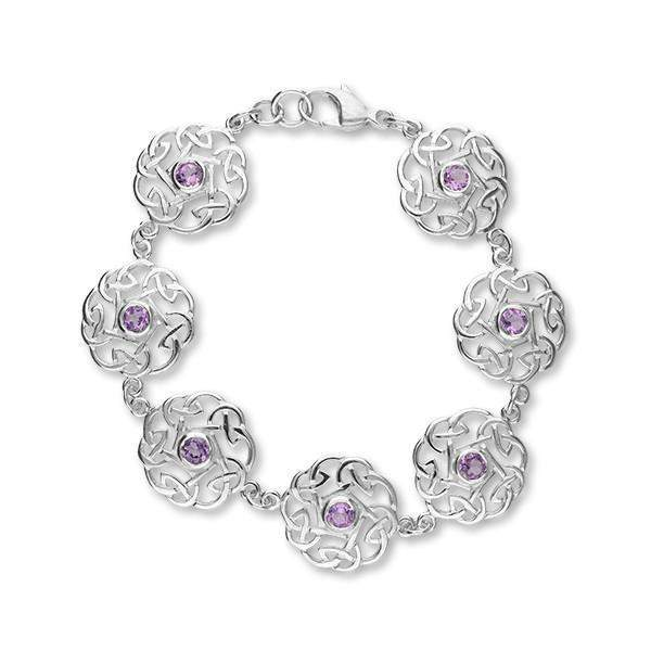 Ortak Silver and Amethyst Celtic Bracelet - CBL49-Ogham Jewellery