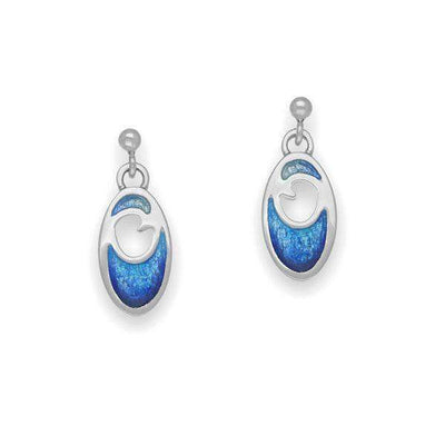 Ortak Silver and Enamel Drop Earrings EE321-Ogham Jewellery