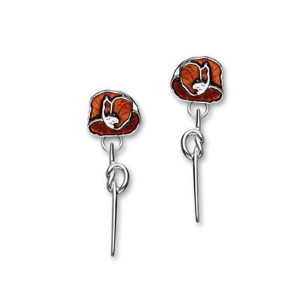 Ortak Silver And Enamel Poppy Earrings EE554-Ogham Jewellery