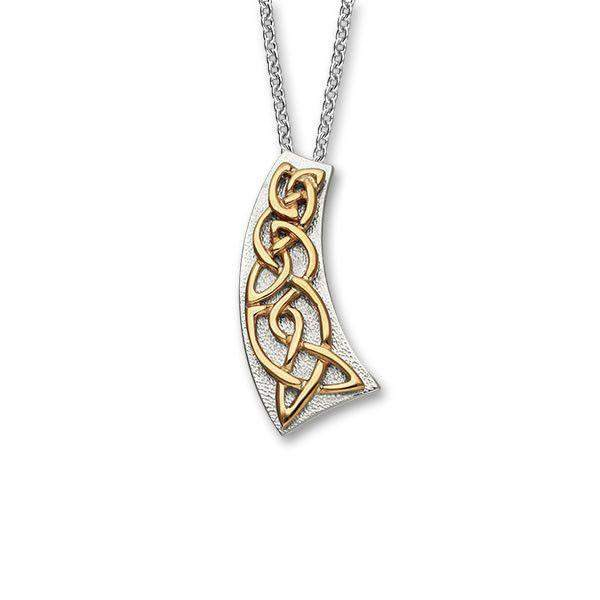 Ortak Silver And Gold Celtic Pendant P578-Ogham Jewellery