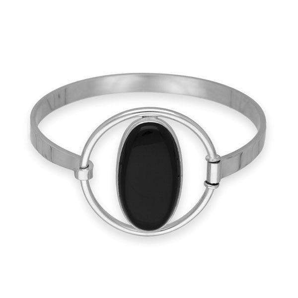 Ortak Silver and Onyx Bangle SBG4-Ogham Jewellery