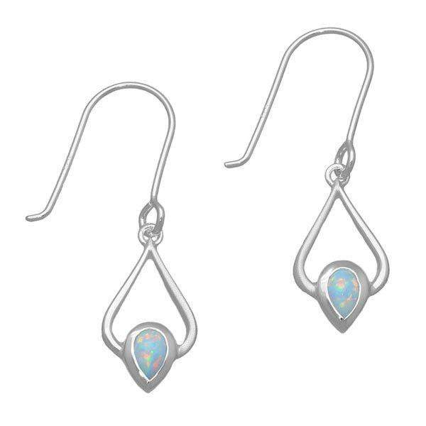 Silver And Opal Drop Earrings -SE399