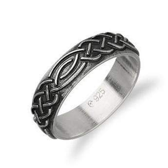 Ortak Silver Celtic Ring - R404 - Size J-Q-Ogham Jewellery