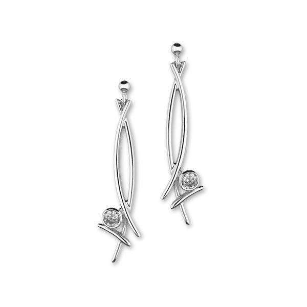 Ortak Silver & Cubic Zirconia Drop Earrings -CE442-Ogham Jewellery