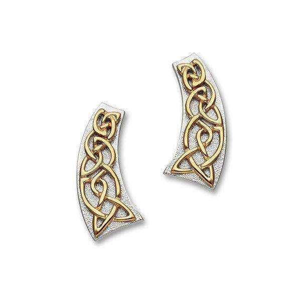 Ortak Sterling Silver & Gold Celtic Earrings - E1061-Ogham Jewellery