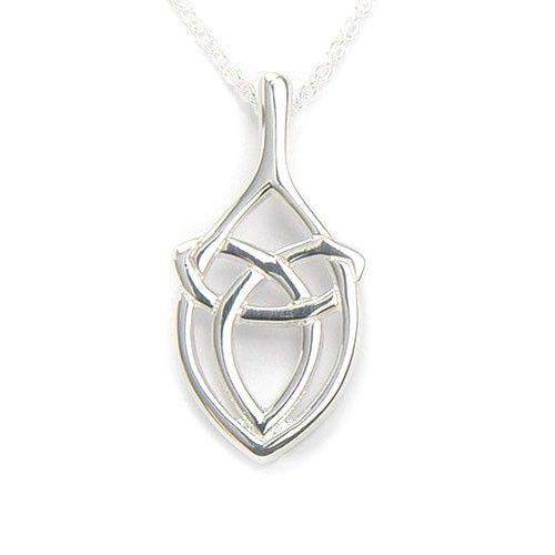 white pendant diamond chain solid knot gold celtic w trinity necklace