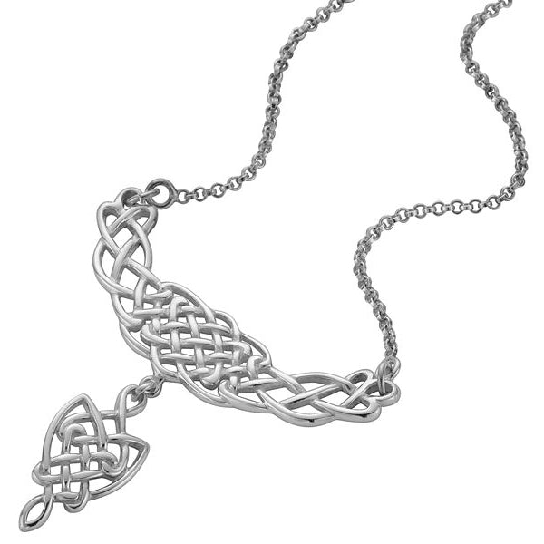 Sterling Silver Celtic Necklet With Celtic Drop Design - P064