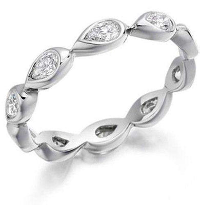 Pear Shaped Diamond Eternity Ring - Various Metals Available XD907BN-Ogham Jewellery