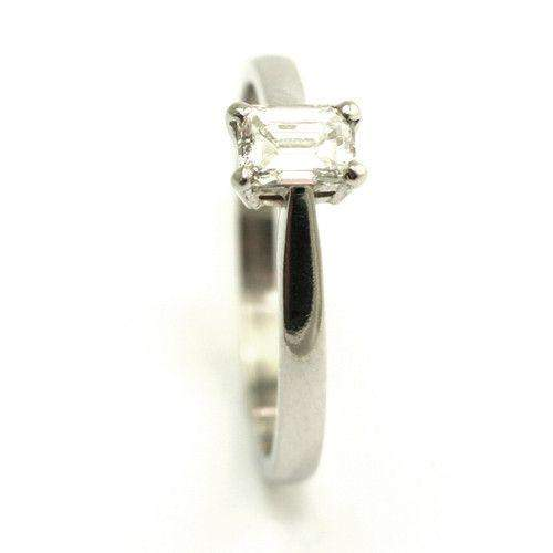 Platinum & Flawless Emerald Cut Diamond Engagement Ring 0.4ct DIF-Ogham Jewellery