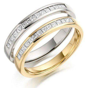 Princess Cut Diamond Half Eternity Ring 0.20ct - Various Metals Available - HET142-Ogham Jewellery