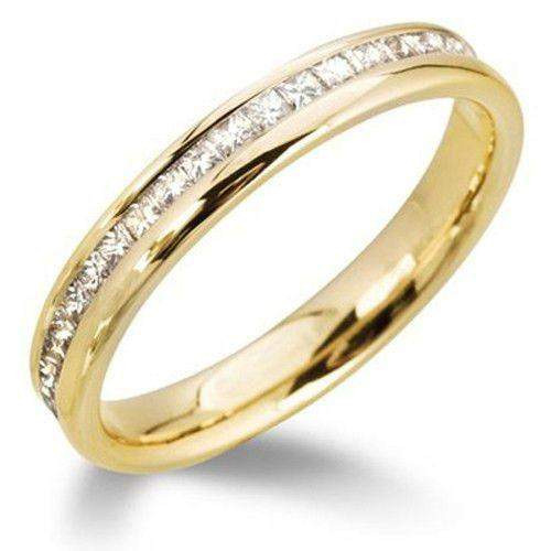 Princess Cut Diamond Wedding Ring - Various Metals Size J-Q - R125WG4-Ogham Jewellery