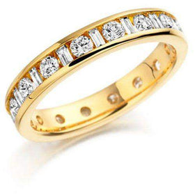 Round & Baguette Cut Diamond Eternity Ring - Various Metals Available ET125-Ogham Jewellery
