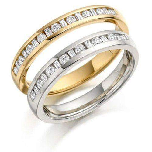 Round & Baguette Diamond Half Eternity Ring 0.20ct - Gold or Platinum HET144