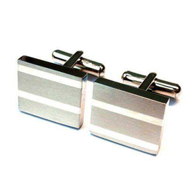 Sale Mens Titanium Cufflinks white stripes-Ogham Jewellery