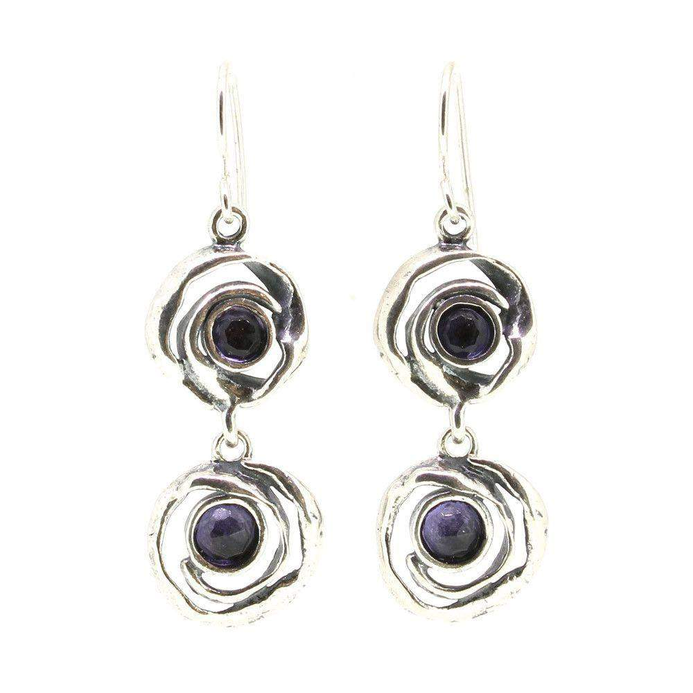 Shablool Designer Silver and Amethyst Earrings - E1725-Ogham Jewellery