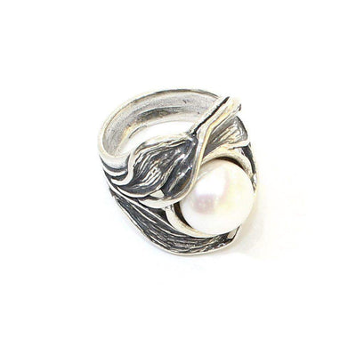 Shablool Designer Silver And Pearl Ring -R10997-Ogham Jewellery
