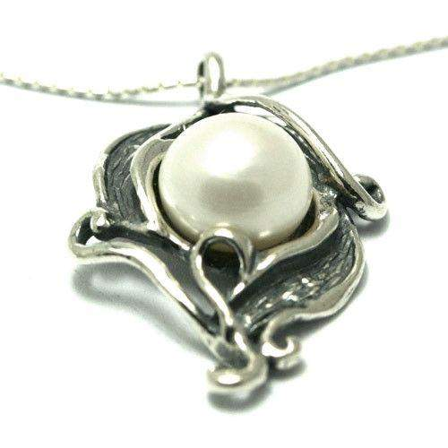 Shablool Designer Sterling Silver and Pearl Pendant - N1997SP-Ogham Jewellery