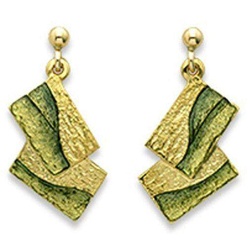 Sheila Fleet 18ct Gold & Enamel Flagstone Earrings GEEX137-Ogham Jewellery