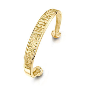 Sheila Fleet 9 Carat Gold Runic Bangle - 9Y-BL34-Ogham Jewellery