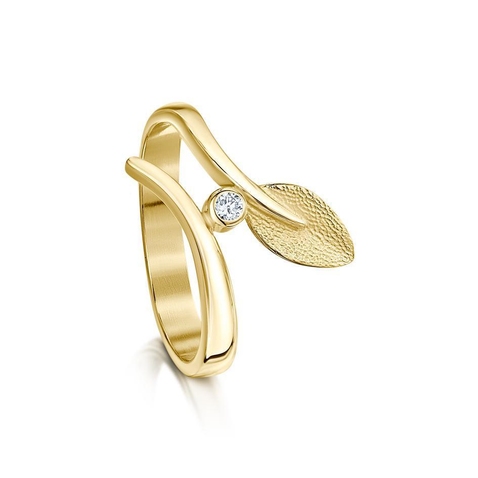Sheila Fleet 9ct Gold Rowan Ring - DR157-Ogham Jewellery