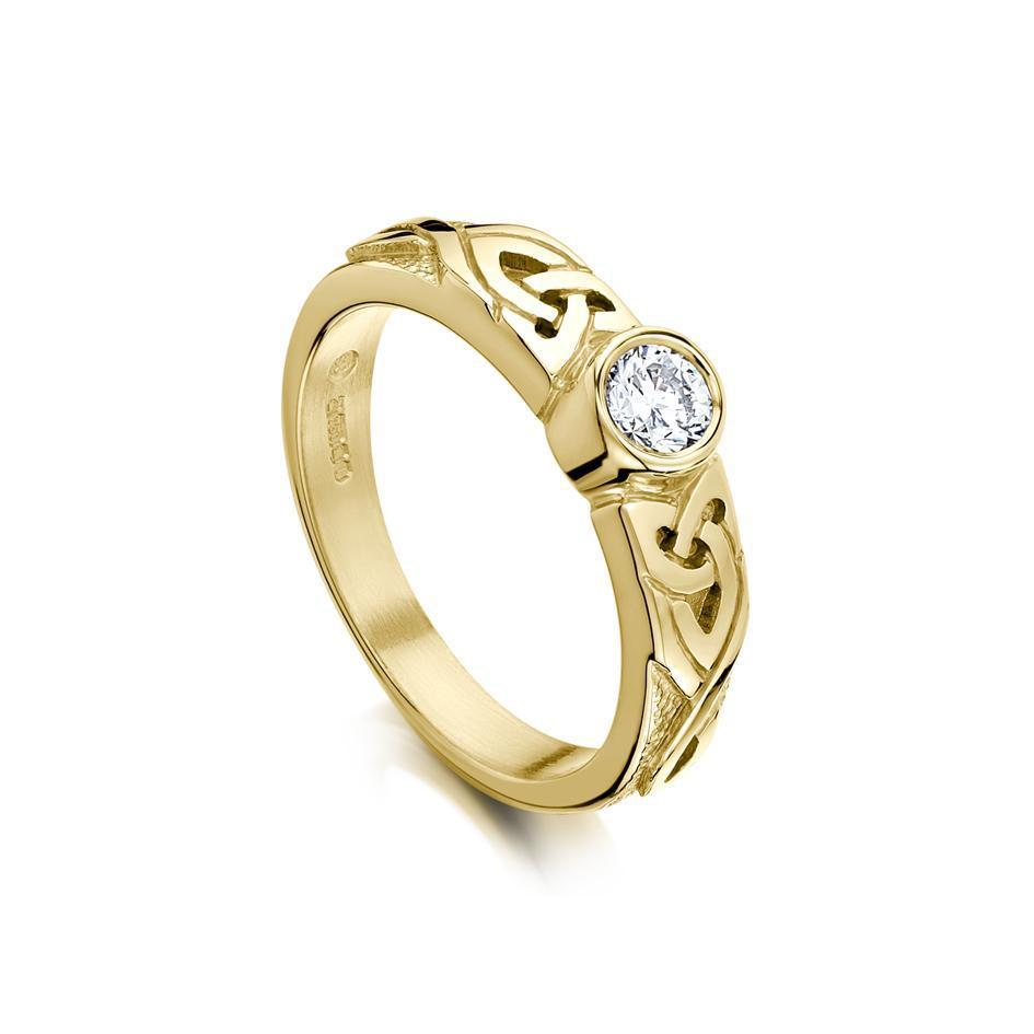 Sheila Fleet Celtic Engagement Ring (Gold, White Gold, Platinum or Palladium) - DR80 (Sizes J-P1/2)-Ogham Jewellery