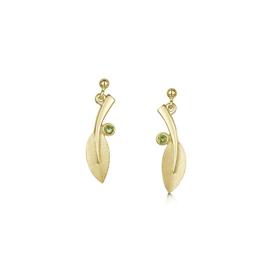 Sheila Fleet Gold Rowan Earrings - SE0159P-Ogham Jewellery