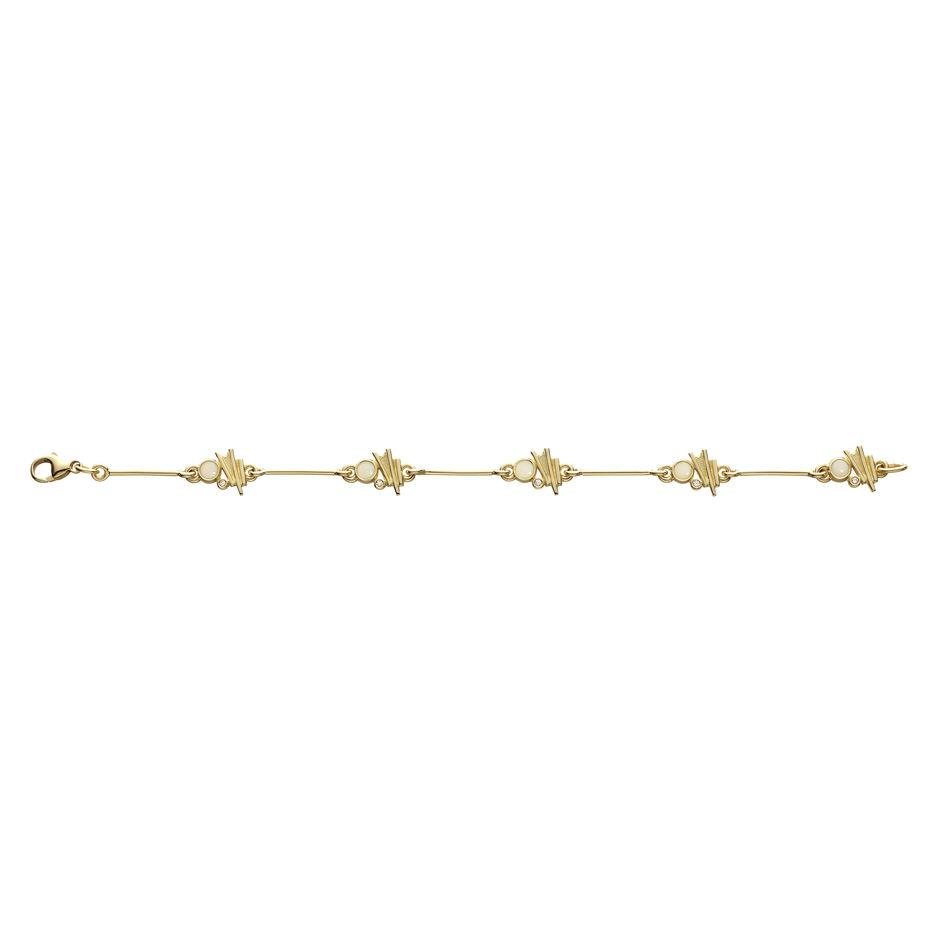 Sheila Fleet Gold with Diamond and Opal Moonlight Bracelet - DBL0149-Ogham Jewellery