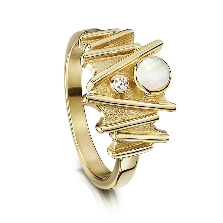 Sheila Fleet Gold with Diamond and Opal Ring - DR149-Ogham Jewellery